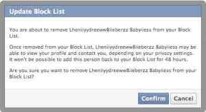 Konfirmasi Batalkan Blokir akun FB
